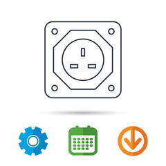 UK socket icon. Electricity power adapter sign. Calendar, cogwheel and download arrow signs. Colored flat web icons. Vector