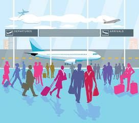 Flughafen-Passagier-Terminal und reisende Personen