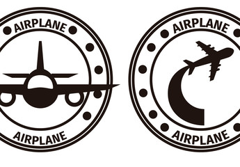 Four Circular Black and White Airplane Designs