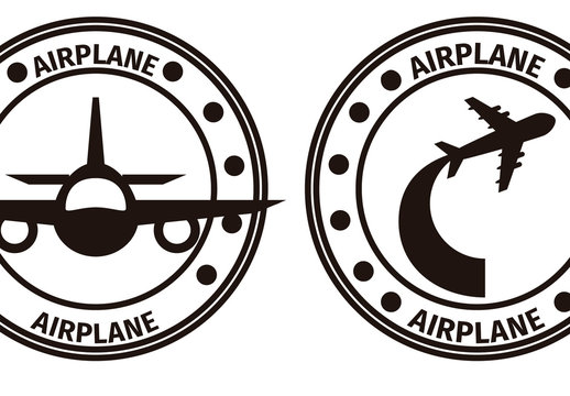 Four Circular Black and White Airplane Designs