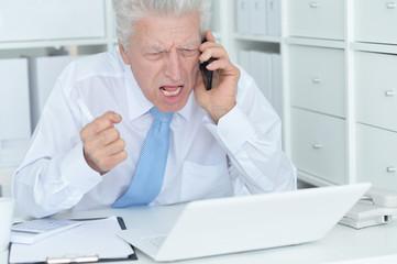 Elderly businessman working in the office