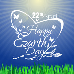 Happy Earth Day print design. Greeting lettering card. Poster. Vector illustration