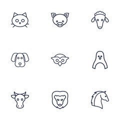 Set Of 9 Alive Outline Icons Set.Collection Of Pig, Cow, Sheep And Other Elements.