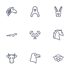 Set Of 9 Beast Outline Icons Set.Collection Of Rabbit, Owl, Mammal And Other Elements.