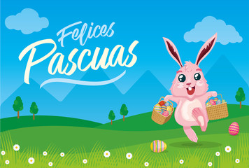 Felices Pascuas: Happy Easter in spanish. Bunny carrying easter eggs in baskets. Landscape background.