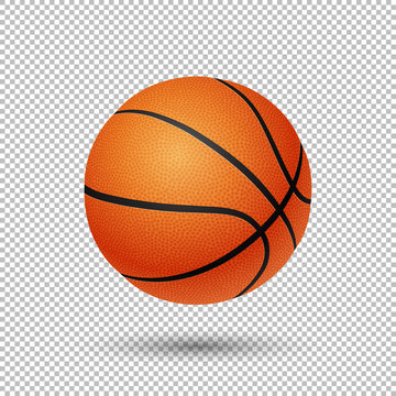 Vector realistic flying basketball closeup isolated on transparent background. Design template in EPS10.