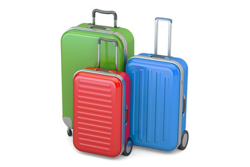 Luggage, colorful suitcases. 3D rendering