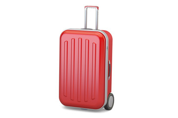 Red suitcase, 3D rendering
