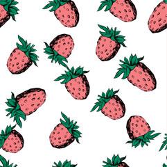 Vector raspberry seamless pattern on white.