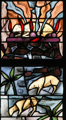 Fototapete - Stained Glass of a burning lamb, symbolizing the Agnus Dei