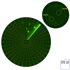 Green radar screen with targets in process ,dynamic illustration . Conceptual design of military radar screen. Vector illustration .