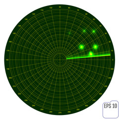 Realistic vector radar in searching . Air search. Military search system blip illustration . Navigation interface wallpaper .
