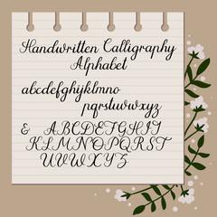 Calligraphy decorative alphabet. Handwritten uppercase, lowercase letters. Hand drawn script. Wedding calligraphy, lettering. Vector illustration