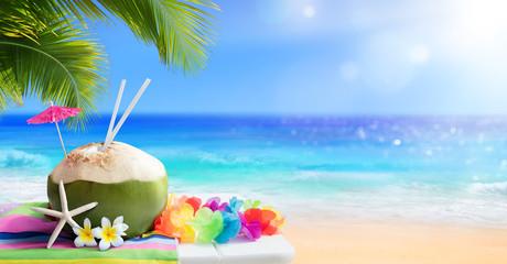 Fresh Coconut Drink In Tropical Beach  Wall mural