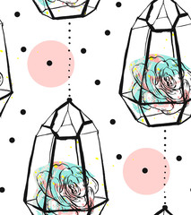 Hand drawn vector abstract seamless pattern with rough terrarium,polka dots texture and succulent plants in pastel colors isolated on white bakground.Design for decoration,fashion,fabric,wrapping