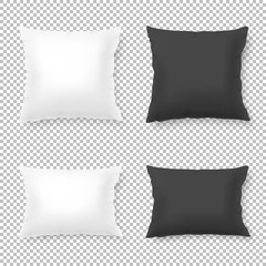 Vector realistic blank white, black square and rectangular pillow or cushion icon set isolated on transparent background. Design template in EPS10.