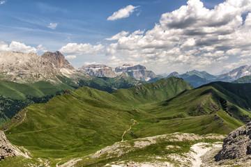 Europe, Italy, Trentino Alto-Adige South Tyrol. Dona Valley and Sassopiatto mountain.