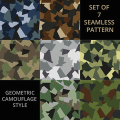 Set of abstract military or hunting camouflage seamless pattern. Made from geometric shapes.
