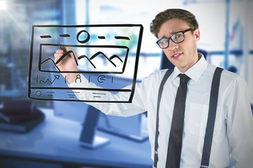 Composite image of geeky businessman writing with marker