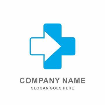 Medical Pharmacy Geometric Cross Square Arrow Digital Computer Hospital Business Company Stock Vector Logo Design Template