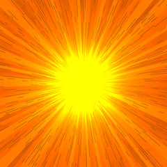 Comic book radial lines background. Effect of orange sunshine rays. Manga speed explosion frame with speed lines.