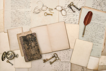 Old letters open book picture frames paper background