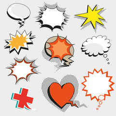 Vector pop art comic speech bubbles, shapes and signs