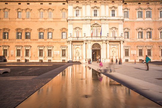 Modena, Emilia Romagna, Italy. Piazza Roma and Military Academy building