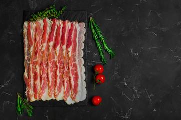 Raw sliced bacon