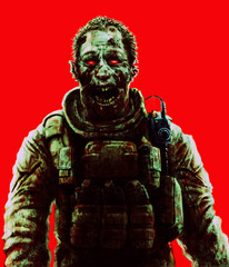 Zombie soldier shout concept. Drawing scary character illustration.