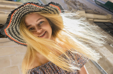 Woman tourist in palma of mallorca