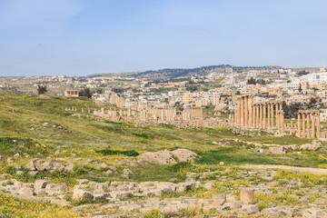 Ruins of the ancient Jerash, the Greco-Roman city of Gerasa in modern Jordan