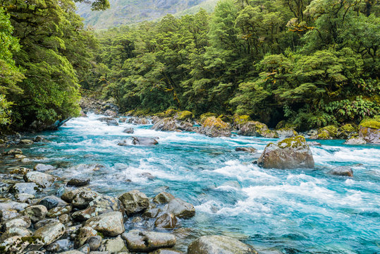 Mount Madeline from Tutoko Bridge, Tutoko River, Fiordland Natio