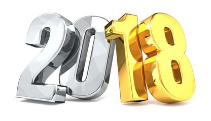 year 2018 golden silver 3d rendering