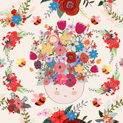 Bee and girl face floral background pattern, flower, seamless