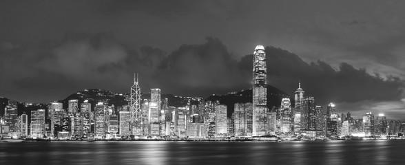 Panorama of Victoria Harbor in Hong Kong at night