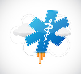 medical symbol and binary clouds illustration
