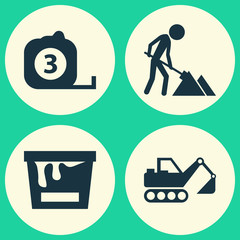 Building Icons Set. Collection Of Digger, Maintenance, Paint Bucket And Other Elements. Also Includes Symbols Such As Bucket, Vehicle, Maintenance.