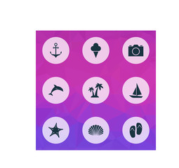 Sun Icons Set. Collection Of Star, Conch, Trees And Other Elements. Also Includes Symbols Such As Photo, Star, Shell.