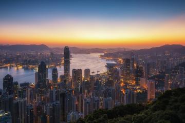 Victoria peak. Hong Kong skyline