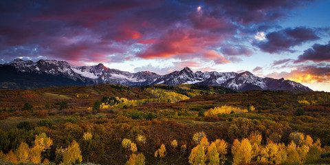 Dramatic sunset over the Dallas Divide at Colorado's San Juan Mountains