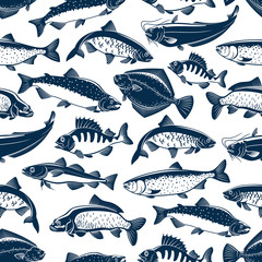 Fishes sketch seamless vector pattern