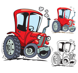 Funny cartoon tractor. Isolated. Colored, outline and colored with stroke vector illustration
