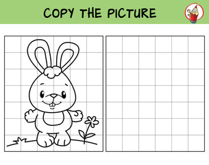 Funny little rabbit. Copy the picture. Coloring book. Educational game for children. Cartoon vector illustration