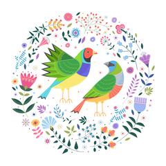 Декоративная иллюстрация на белом фоне с изображением двух разноцветных птиц, вокруг которых расположены разные цветы, растения и листья.