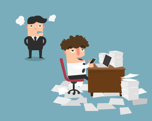Businessman using mobile phone at work behind his desk while angry director is standing,illustration