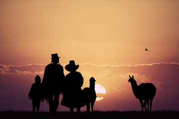 Peruvian people at sunset