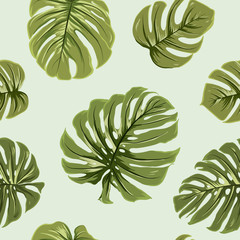 Tropical exotic big bright green monstera leaves seamless pattern on light green background. Vector design illustration for textile, fabric, decoration, packaging, wrapping, fashion.