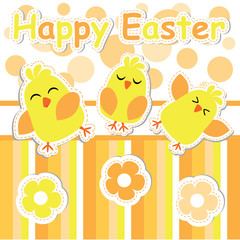 Cute chicks and flowers cartoon, Easter postcard, greeting and invitation card, vector illustration