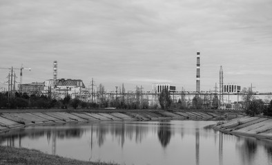 The Chernobyl power plant with new sarcofagus in Ukraine